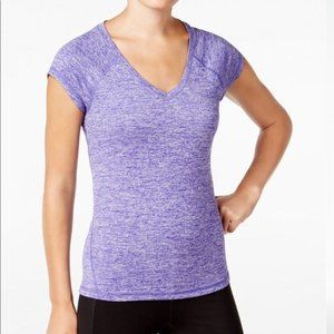 Ideology Purple Marled V Neck Activewear T-ShirtXL